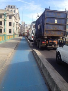 Southwark Bridge blue cycle lane
